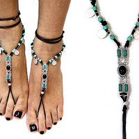 Suede Stone Metal Barefoot Sandals Silver Turquoise Multi