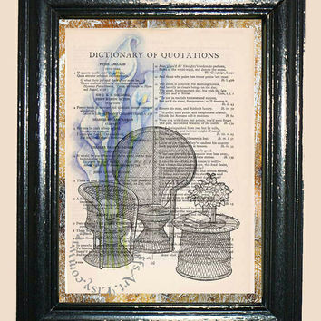 Rattan Furniture with Blue Lilies Art - Vintage Dictionary Book Page Art Print Beautiful Upcycled Book Art Mixed Media Art