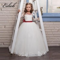 Flower Girls Dresses with Red Sequins Big Bow and Beaded Appliques Tulle Princess Long Sleeves Girl Party Gowns New Hot Cute