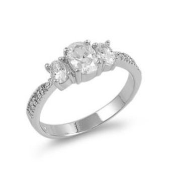 Sterling Silver CZ Three Strones Engagement Ring size 4- 9