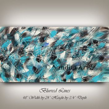 Blue Painting Cubism Picasso Style Abstract Oil painting, Turquoise blue Modern Art Painting on Canvas Original Home Office Decor by Nandita