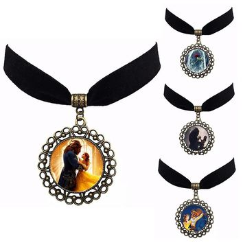 2017 Movie Beauty and the Beast Pendant necklace chain Figure Model cosplay accessary