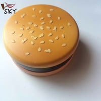 [SKY]3 layer grinder biscuit zinc alloy metal herb smoking tobacco weed grinder hamburger metal herb grinder Wholesae MMY-1035