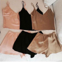 Fashion Solid Color Sleeveless Strap Small Vest Shorts Set Two-Piece