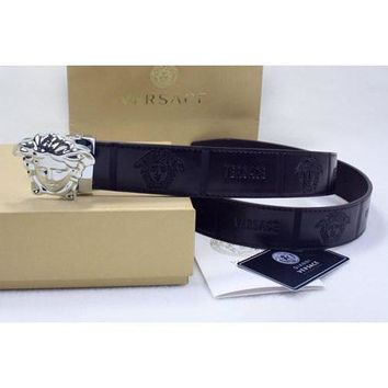 Versace Women or Men Fashion Smooth Buckle Leather Belt