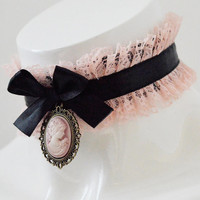 Victorian lolita collar - Altpink cameo - steampunk lace cute kawaii pastel pink and black choker - pastelgoth princess costume accessories