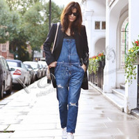 Loose waist jeans was thin hole denim strap trousers Siamese pants influx of female students