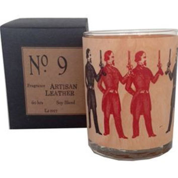 Artisan Leather Wood Candle No. 9