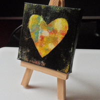 Miniature Abstract Heart Acrylic Painting w/ Easel Mini