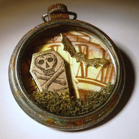 Gothic Dark Art, Dead Time, OOAK Altered Pocket Watch, Mixed Media Assemblage