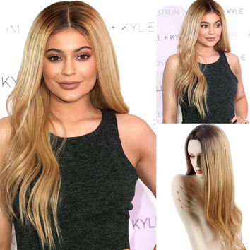Ombre Blonde Wig Jenner Wigs African American Wig for Black Women Cheap Blonde Hair heat Resistant Synthetic Female  False Wigs