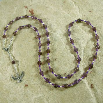 Isis (Aset) Prayer Bead Necklace in Amethyst: Egyptian Goddess of Magic, Wisdom, Motherhood