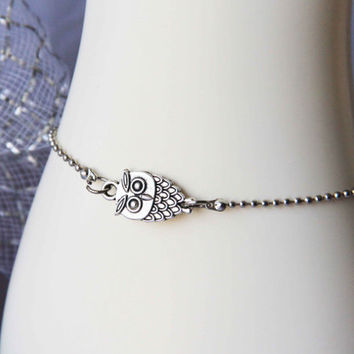 Antique silvery bead chain owl bracelet anklet handmade bracialli Fußkettchen summer trending simple fashion friendship graduation gifts