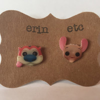 Handmade Plastic Fandom Earrings - Cartoon - Ren & Stimpy