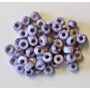 50 6mm Czech Opaque light Amethyst Purple & White Marbled glass pony beads, large hole crow beads, C6550