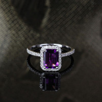 6x8mm Emerald Cut Amethyst .29ct Diamonds Engagement Ring 14kt White Gold