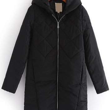 Black Quilted Hooded Zip-Up Long Coat