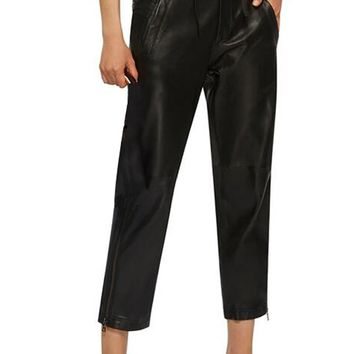 Between The Lines Black High PU Faux Leather High Waist Zip Leg Crop Trouser Pant