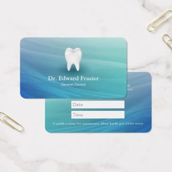 Professional Dental Care Dentist Appointment Aqua Business Card
