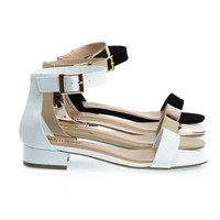Happyfeet01 White By Bamboo, Low Chunky Block Heel Open Toe Sandal w Heel Counter