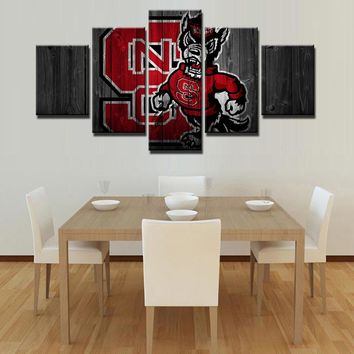 North Carolina State NCAA Football 5 Panel Canvas Wall Art Home Decor