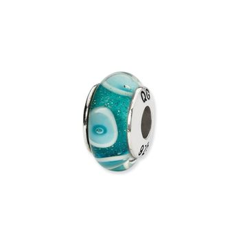 Blue, White Circle Hand-Blown Glass Bead & Sterling Silver Charm, 13mm