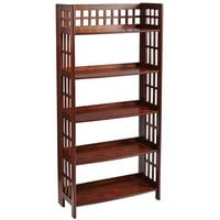 Fretted Tall Folding Shelf - Tuscan Brown