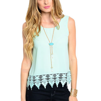 Sleeveless Chiffon Top W/ Crochet Lace Trim