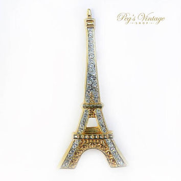 Vintage Eiffel Tower Brooch Pin, Gold Toned Metal with Rhinestones - Costume Jewelry - Collectible Brooch