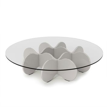 """Waverly 28"""" Round Glass Top Accent End Coffee Table in Off White"""