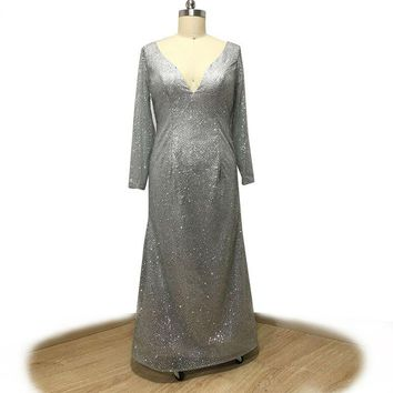 V-neck long sleeve evening dress silver sequined straight prom dress