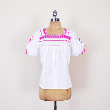 Pink Mexican Shirt Mexican Blouse Mexican Top Mexican Tunic Mexican Embroider Shirt Embroider Blouse Embroider Top 70s Hippie Boho M Medium