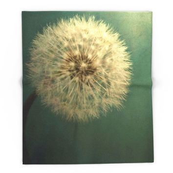 Society6 Dark Teal Texture With Dandelion Soft White Fl Blanket