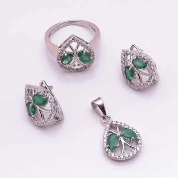 Stamp 925 Sterling Silver Genuine Natural Green Emerald Clear Cubic Zirconia CZ Gemstone Pear Shape Women Pendant Ring Earring Jewelry Set