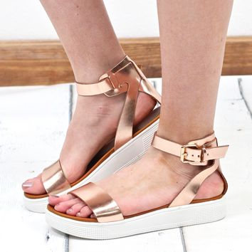 MIA: Ellen Ankle Strap Sneaker Sole Sandals {Rose Gold}
