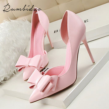 Women Pumps Sweet Bowknot High Heels Thin Purple Pink Heels Shoes Pointed Toe Stiletto Elegant Bowtie Wedding Shoes Zapatos