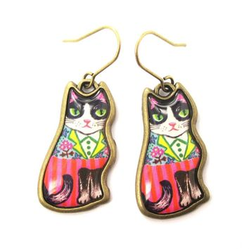 Colorful Tuxedo Kitty Cat Illustrated Animal Dangle Earrings | DOTOLY