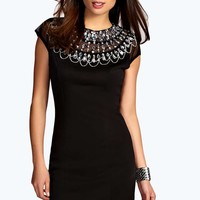 Kacie Embellished High Neck Bodycon Dress