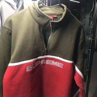 Supreme Fashion Casual 17fw 2-Tone Half Zip Splicing Long Sleeve High Neck  Sweatshirt G -CN-CFPFGYS