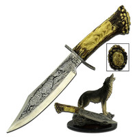 "Collectible Knife 5"" Blade w/Wolf Resin Stand"