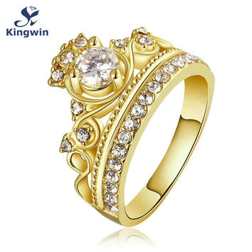 Kingwin new design crown ring for women cz Pure Gold Color queen princess famous brand fashion jewelry dropshippingdistributor