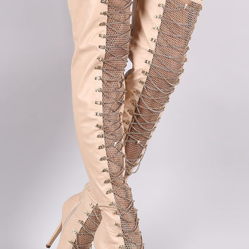 Chain Lace Up Fishnet Inset Stiletto Over-The-Knee Boots