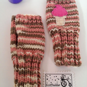 Kids Fingerless Gloves Ice Cream Cone, Neapolitan - Big Kids - Cute and Warm