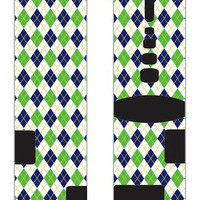 Argyle Pattern Green, Blue and white custom Nike Elite Socks