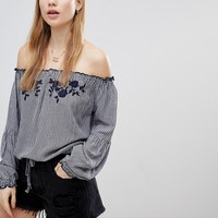 Hollister Off the Shoulder Gingham Top at asos.com