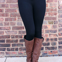 Zip It Up High Rise Leggings - Black