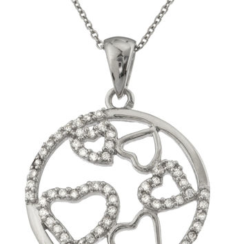 Ladies 925 Sterling Silver Circle of Love Pendant with Cz Stones and an 18 Inch Link Necklace