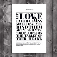 DIY Printable Christian Poster. Bible Verse. Proverbs 3:3-6. Love and faithfulness. 8x10.