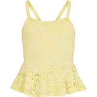 River Island Girls yellow lace peplum top