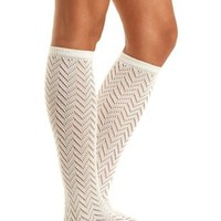 Metallic Pointelle Knee Socks by Charlotte Russe - Ivory